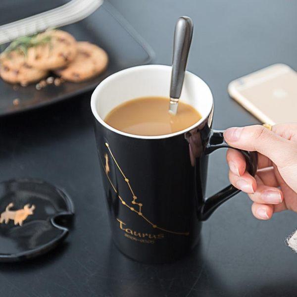 馬克杯 創意十二星座陶瓷辦公室帶蓋勺骨瓷情侶款AB1040 【棉花糖伊人】