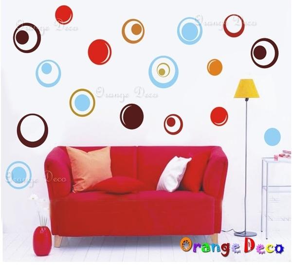 壁貼【橘果設計】圈圈 DIY組合壁貼/牆貼/壁紙/客廳臥室浴室幼稚園室內設計裝潢