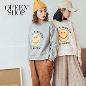 Queen Shop【01037585】童趣笑臉內刷毛長袖上衣 兩色售*現+預*