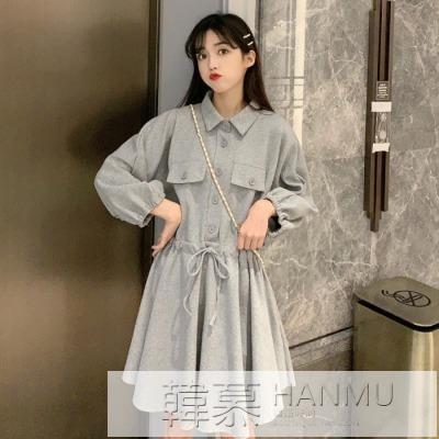 洋裝女2020新款韓版氣質減齡Polo領繫帶收腰顯瘦學生A字裙 女神購物節