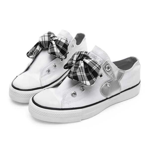 PLAYBOY 甜美格紋蝴蝶結休閒鞋-白(Y5205)