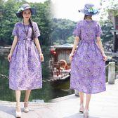 洋裝 連身裙 夏季新款民族風女裝文藝復古印花短袖棉麻連衣裙寬鬆顯瘦碎花長裙