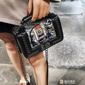 潮女式小香風卡通造型迷你小方包單肩斜挎編織鍊條包包
