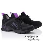 ★2019春夏★Keeley Ann輕運動潮流 膠片透氣網英文字母休閒鞋(黑色)-Ann系列