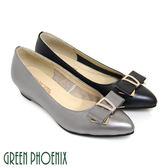 U33-21116 女款全真皮尖頭包鞋 雙層蝴蝶結金屬裝飾水鑽全真皮小坡跟尖頭包鞋【GREEN PHOENIX】