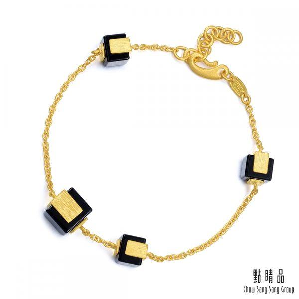點睛品 g*collection系列 方形黑玉髓黃金手鍊