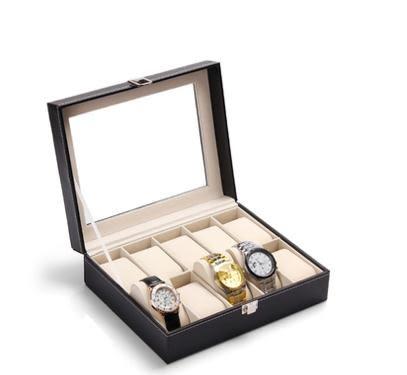 帶鎖實木手錶盒開窗手錶收納展示盒戒指項鍊首飾手錶箱大收藏盒子【全館免運八九折爆槍】