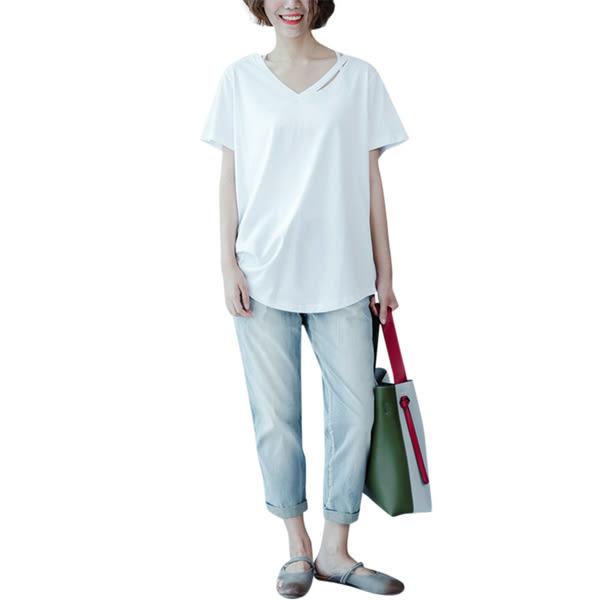 大碼T恤 大碼女裝夏裝白色V領純色短袖胖mm簡約寬鬆正韓打底上衣T恤衫