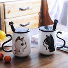 情侶貓咪馬克杯大容量辦公室陶瓷杯子帶蓋帶勺創意學生咖啡牛奶杯 特價 交換聖誕禮物