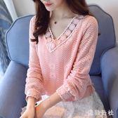 中大尺碼 長袖蕾絲上衣2018新款韓版寬鬆顯瘦長袖打底衫 ys6124『美鞋公社』