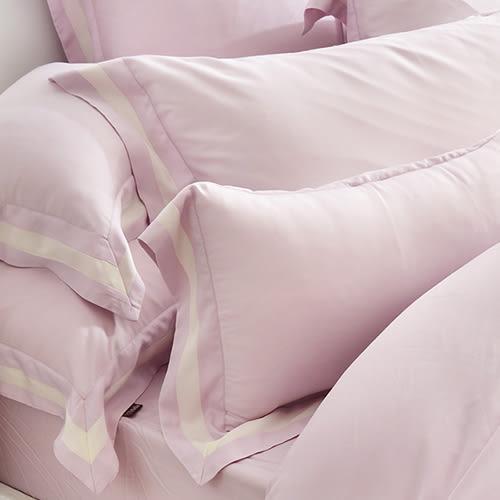 義大利La Belle《法式簡約-紫》加大天絲拼接四件式防蹣抗菌舖棉兩用被床包組