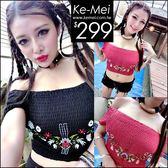 克妹Ke-Mei【ZT46937】泰國潮牌 復古電繡圖騰彈力皺皺露肩上衣