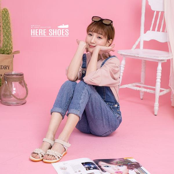 [Here Shoes]涼拖鞋-春夏小花水鑽絨面布料一字低跟6.5cm涼鞋─AS6147