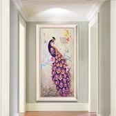新春狂歡 玄關裝飾畫歐式客廳油畫豎版走廊過道掛畫客廳餐廳書房壁畫富貴花