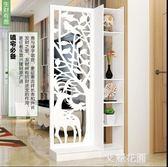 屏風隔斷客廳櫃雕花玄關櫃鏤空現代簡約裝飾白色折屏移動雙面門廳QM『艾麗花園』