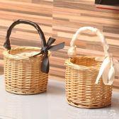 迷你野餐籃柳編藤編織菜籃子手提包收納筐花籃手提籃拍照道具花籃igo  歐韓流行館