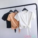 短袖T恤 短款T恤女夏心機綁帶高腰短袖體桖韓版潮學生露臍緊身顯瘦上衣服 愛麗絲