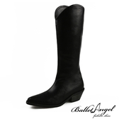 長靴 極致顯瘦V口牛仔尖頭長靴(黑)*BalletAngel【18-8089bk】【現+預】