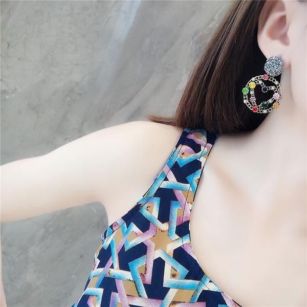 耳環 彩鑽 金屬 圓形 不對稱 愛心 數字 巴洛克風 耳釘 耳環【DD1809088】 BOBI  11/22