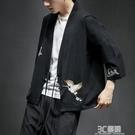 中國風薄外套男裝漢服夏開衫防曬衣棉麻寬松道袍和服亞麻浮世繪潮 3C優購