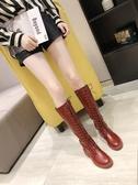 馬丁靴女2019秋冬新款高筒騎士靴過膝長靴女粗跟長筒網紅瘦瘦靴子