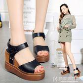 楔型鞋高跟女涼鞋厚底楔形厚底防水台鬆糕百搭學生魚嘴女鞋 快意購物網