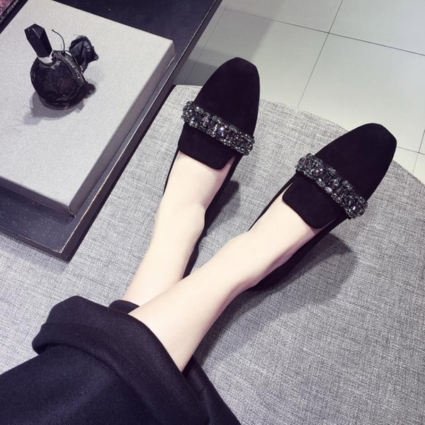 全館83折 深口女鞋2018春季新款韓版女孕婦單鞋水鉆軟底女鞋豆豆鞋平底瓢鞋