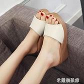 高跟拖鞋 坡跟涼拖鞋女外穿時尚百搭2021新款夏季松糕厚底女鞋高跟鞋一字拖 快速出貨