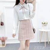 2021早秋雪紡襯衫職業裝兩件套小清新森女系甜美少女仙氣短裙套裝 米娜小鋪