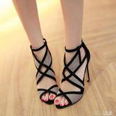 韓版魚嘴網紗涼鞋女夏季羅馬綁帶高跟鞋鏤空露趾細跟黑色七色堇