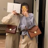 斜背包chic包包女復古質感簡約菱格鏈條2020新款韓版百搭單肩斜挎小方包