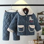 冬季兒童睡衣三層加厚夾棉寶寶男孩女童大童珊瑚絨保暖家居服套裝 怦然新品
