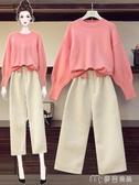 大碼套裝大碼女裝初秋新款洋氣顯瘦針織衫遮胯遮肚闊腿褲減齡兩件套裝 麥吉良品YYS