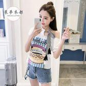 T恤秋季新款韓版印花寬鬆繫帶不規則漏肩短袖T恤女學生百搭上衣 雙11返場八四折