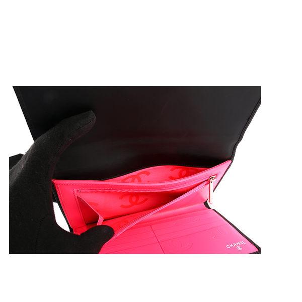 【CHANEL】 小牛皮康朋系列 三折壓扣 大長夾(黑色) CH21000129