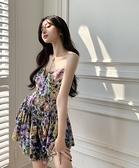 抹胸洋裝 碎花吊帶連身裙性感抹胸魚尾百褶短裙女裝夏季2021年新款a字裙子 寶貝