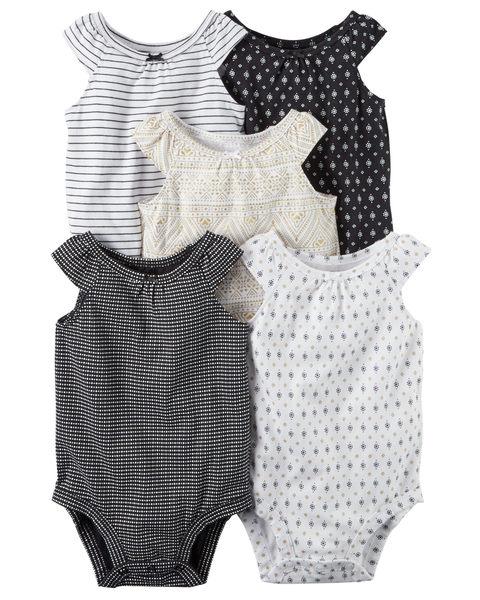 【美國Carter's】短袖包屁衣5件組-小小旅行家系列126G548