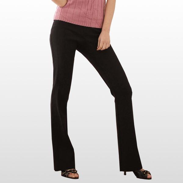 西裝褲--輕鬆纖腿韓版中央車線休閒氣質中腰小喇叭西裝長褲(S-5L)-K06眼圈熊中大尺碼◎