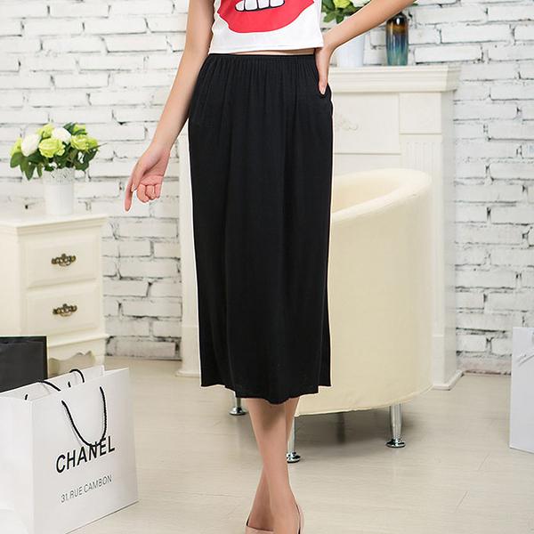 牛奶絲感車邊包臀長版襯裙(74cm) [黑 白] 兩色售 MA160003