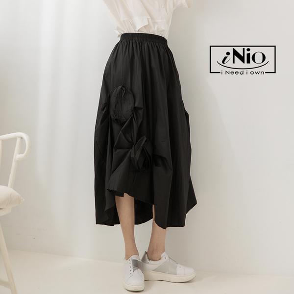 日雜風立體花設計款鬆緊腰長裙-現貨快出【C1W2139】 iNio 衣著美學