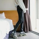 西西里男裝港風ins灰色網紅牛仔褲男九分韓版直筒修身小腳褲子潮