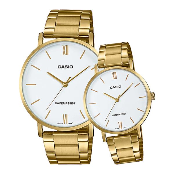 CASIO 手錶專賣店 卡西歐 MTP-VT01G-7B+LTP-VT01G-7B 指針對錶 不鏽鋼錶帶 生活防水 礦物玻璃