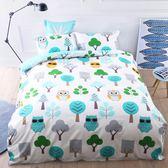 ☆雙人薄床包含枕套☆100%精梳純棉5x6.2尺《貓頭鷹》