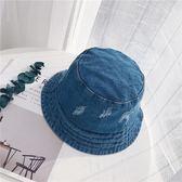 水洗牛仔漁夫帽 破洞做舊帽子 可折疊防曬盆帽【多多鞋包店】m234