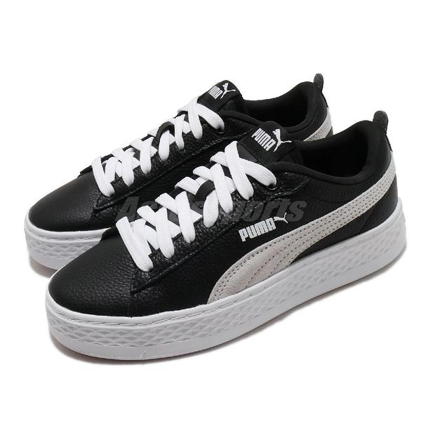 Puma 休閒鞋 Smash Platform L 黑 白 女鞋 厚底 增高 【ACS】 36648711