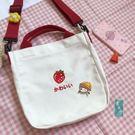 帆布包可愛少女小包包刺繡水果牛油果草莓圖...
