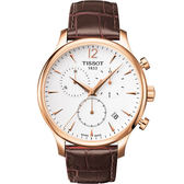 【僾瑪精品】TISSOT T-Tradition 經典三眼計時腕錶(白+金/42mm)-T0636173603700