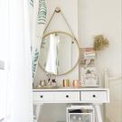 浴室鏡子 鐵藝壁掛鏡圓形鏡子化妝鏡浴室鏡圓鏡裝飾鏡試衣鏡【直徑50公分】 店慶降價