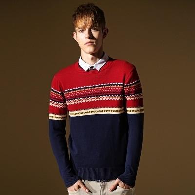 長袖針織衫-韓版多色修身設計男針織毛衣73ik12【時尚巴黎】