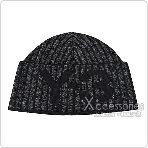 Adidas Y-3 CH1 REFLECTIVE BEANIE針織LOGO羅紋設計反光毛線帽(黑灰)